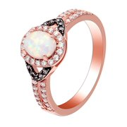 Chocolate Wgold Pl White Fire Opal Engagement Ring Women Ginger Lyne