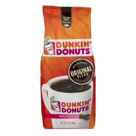 (2 Pack) Dunkin' Donuts Original Blend Medium Roast Whole Bean Coffee, 12 oz