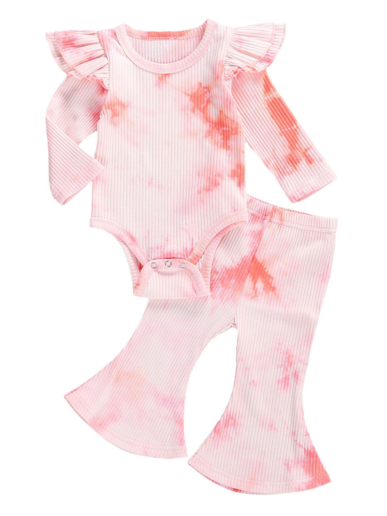 Baby Girl 2 Piece Pyjamas Long Sleeve Ruffle Romper Bodysuit and Pants Fall Winter Outfit Clothes Set