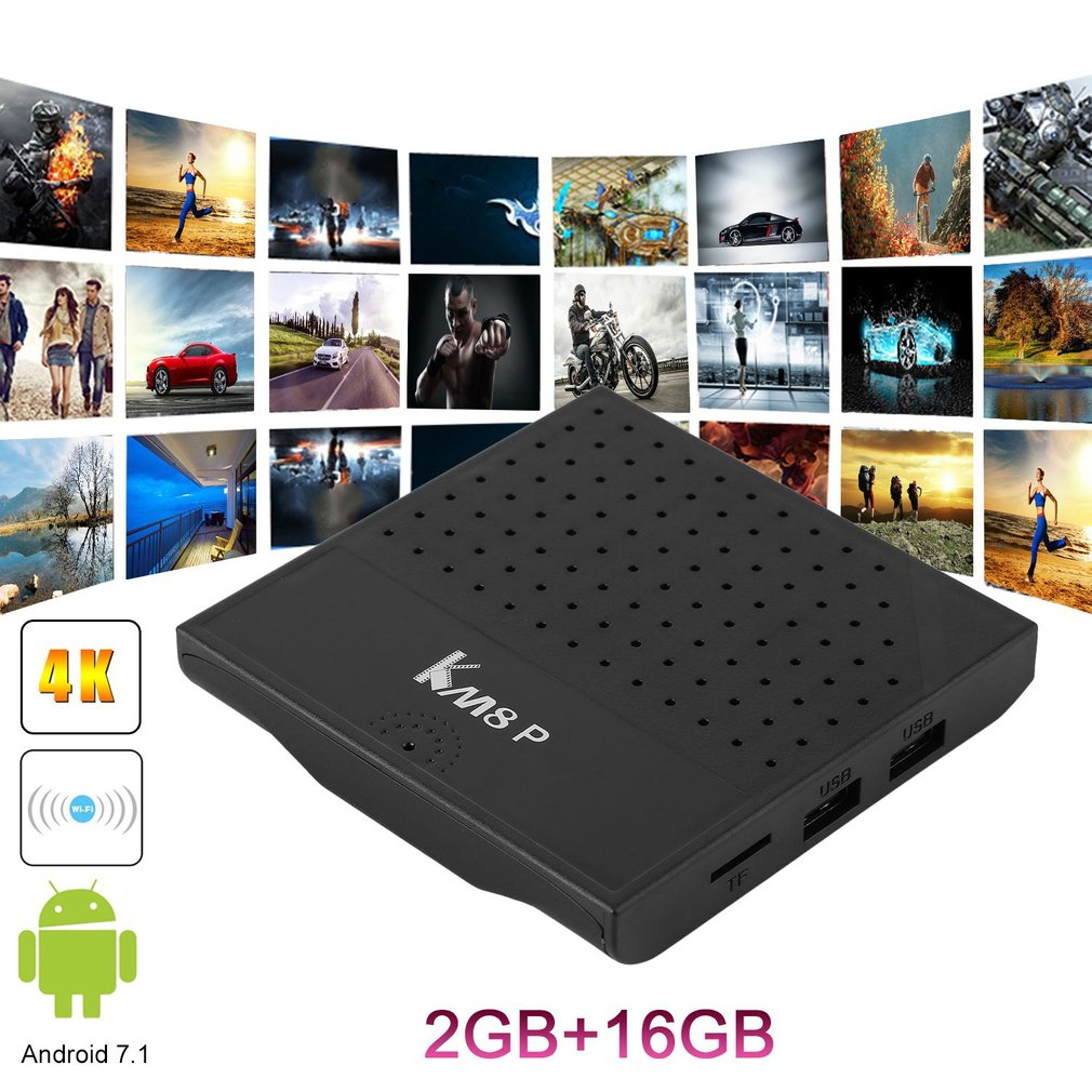 KM8P S912 2RAM+16G Flash Set Top Box Smart Octa Core TV Box For Android 2.4G WiFi Media Player US Plug Black