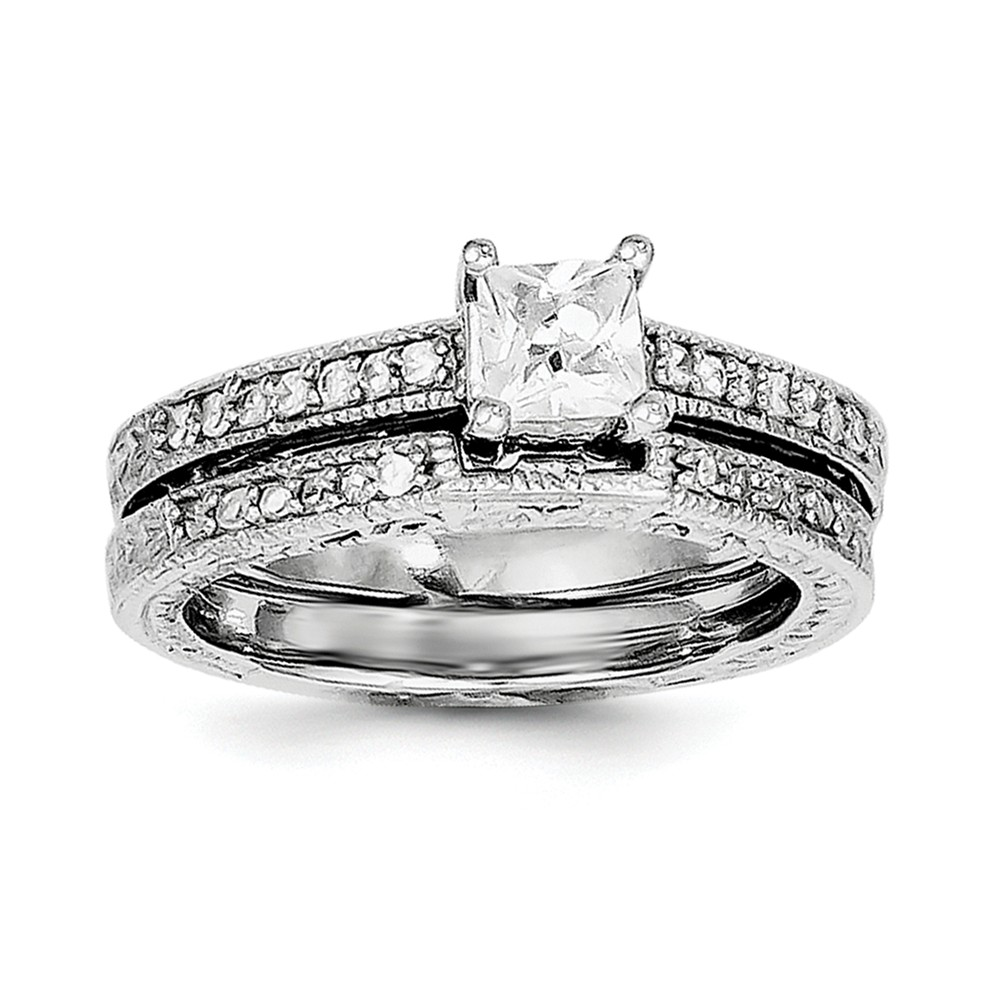 925 Sterling Silver 2-Piece Cubic Zirconia Wedding Set Ring Size-7