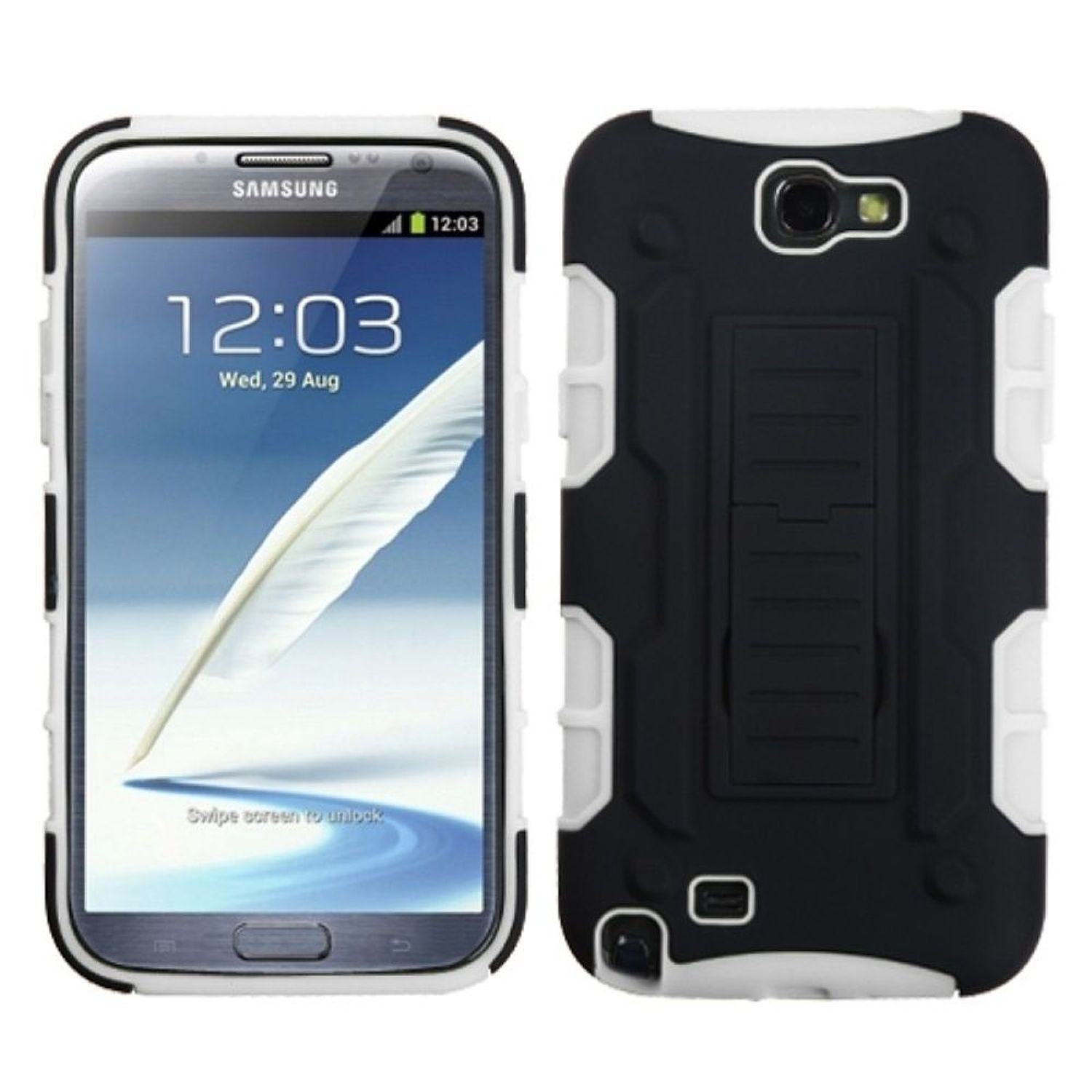 Insten Black/White Car Armor Stand Case (Rubberized) for SAMSUNG: Galaxy Note II (T889/I605/N7100)