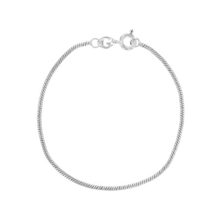 Silver Plated Snake Chain Thin Cord Bracelet Girls 6.5