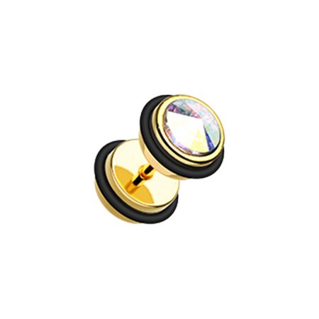 Gemmed Iridescent & Glitter Opal & Metallic Coat Acrylic Fake Plug with O-Rings