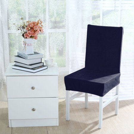 blue dining room chair covers | Unique Bargains Stretch Thicken Plush Short Dining Room ...