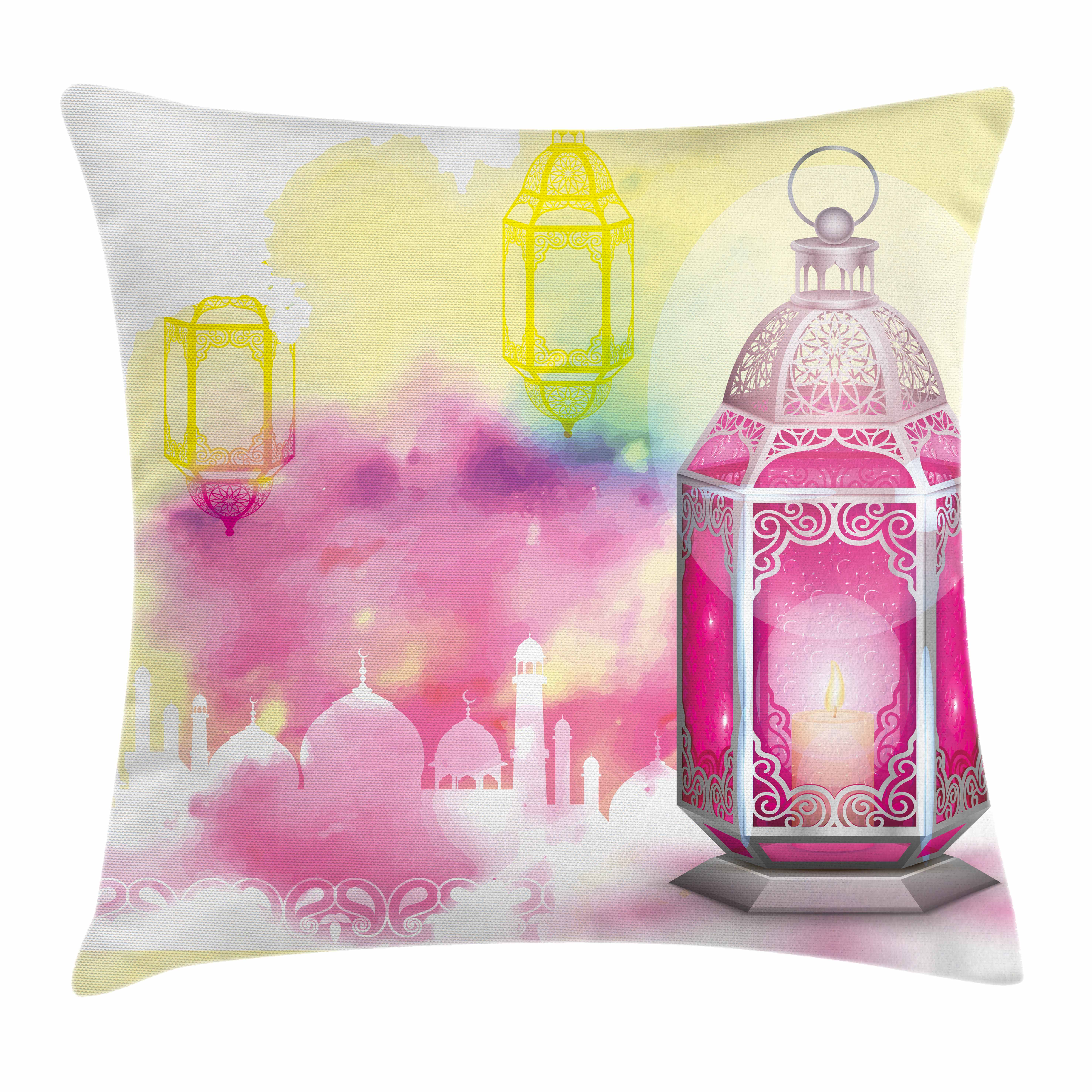 Lantern Throw Pillow Cushion Cover, Eid Mubarak Ramadan Kareem Prayer Islam... by Kozmos
