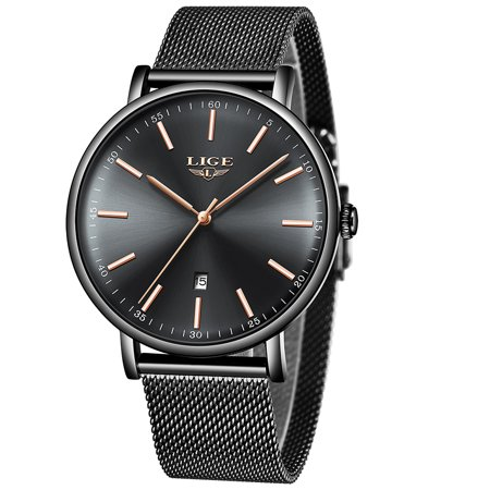 LIGE 9908 Fashion Top Luxury Brand Women Full Stainless Steel Mesh Strap Business Watches Quartz Clock Female Wristwatch Black Band Black Case Black Dial Gold