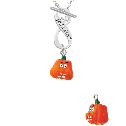 Resin Funny Boo! Pumpkin God's Love Infinity Toggle Chain Necklace
