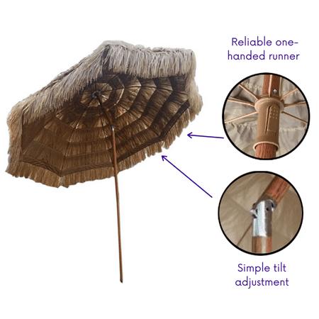 Impact Canopy 8 Foot Thatched Hawaiian Tiki Umbrella, Pool Patio Beach Umbrella