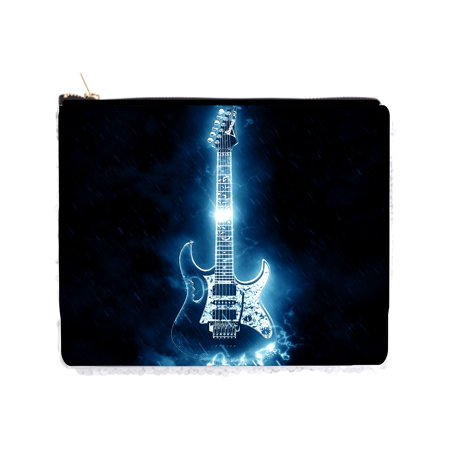 "Electric Guitar - 2 Sided 6.5"" x 8"" White / Silver Two-Tone Magic Sequin Pencil Case / Bag"