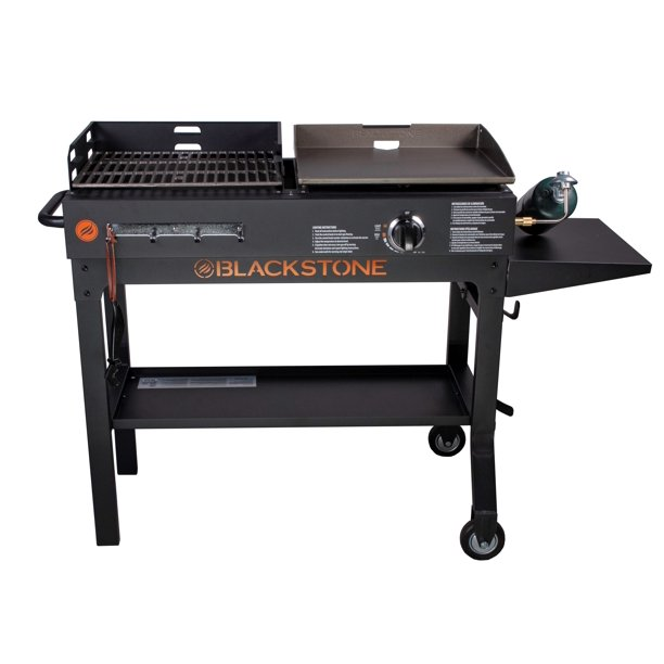 Blackstone Griddle & Charcoal Grill Combo with Side and Bottom Shelves