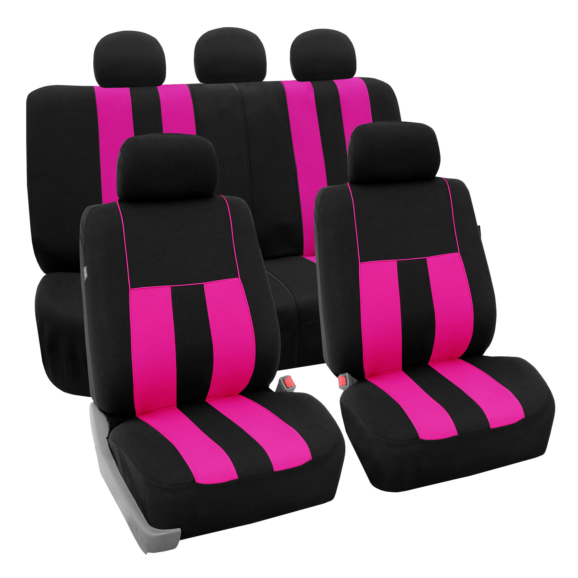 FH Group Striking Striped Airbag Compatible Full Set Seat Covers with Split Bench Function, Pink and Black