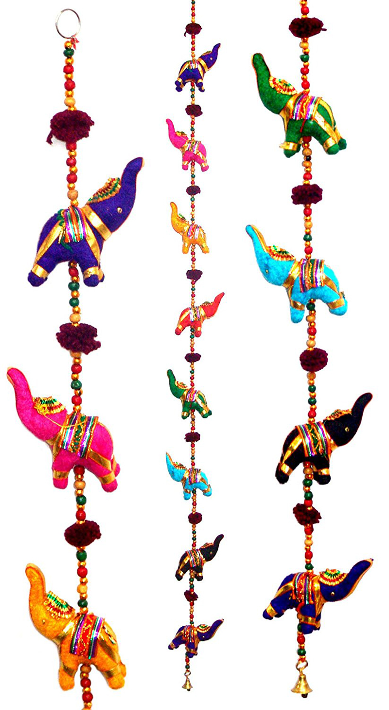 NEW Indian Elephant Peacock Wind Chimes Hand Made Bell Umbrella Mobile Vintage