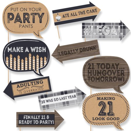 21st Birthday Cookies - Funny Finally 21 - 21st Birthday - Party Photo Booth Props Kit - 10 Count