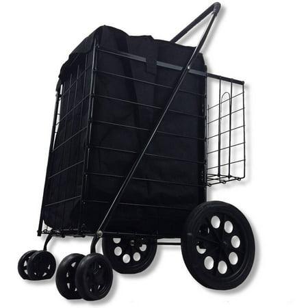 Whitmor Rolling Utility Cart - Double Basket Black Folding Utility Cart Fold Up Rolling Storage Shopping Carrier, Black with Bonus Liner