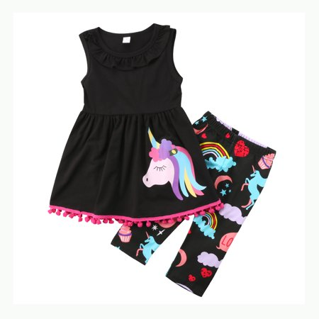 Girls Sleeveless Skirt Set - Unicorn Kids Baby Girls Cotton Outfit Clothes Sleeveless T-shirt Tops Dress + Short Pants 2Pcs Set 2-3 Years