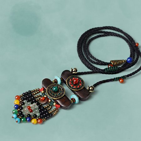 Beads Long Chain (Vintage Women Boho Ethnic Bohemian Necklace Stone Beads Slice Pendants Long Rope Chain Jewelry Gifts )