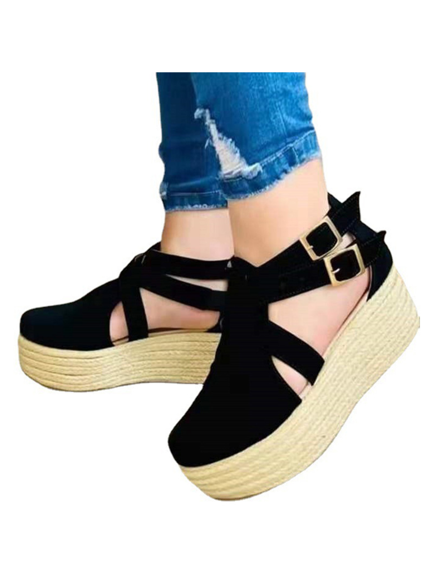 Womens Ladies Espadrille Wedge Buckle Summer Casual Mules Sandals Shoes Size 4-7