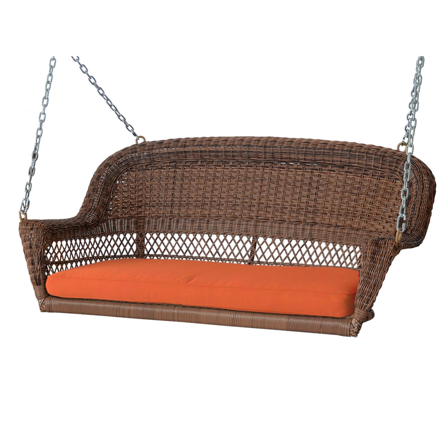 """51.5"""" Hand Woven Honey Brown Resin Wicker Outdoor Porch Swing with Orange Cushion"""