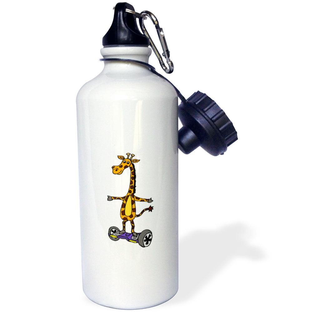 3dRose Funny Giraffe Using Motorized Skateboard, Sports Water Bottle, 21oz by Supplier Generic