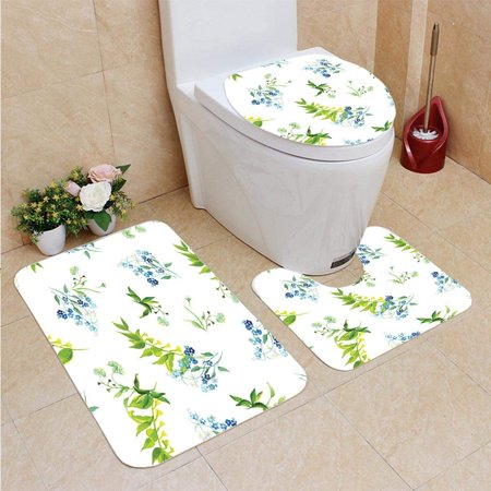 XDDJA Meadow Flowers Watercolor Seamless 3 Piece Bathroom Rugs Set Bath Rug Contour Mat and Toilet Lid Cover - image 1 de 2