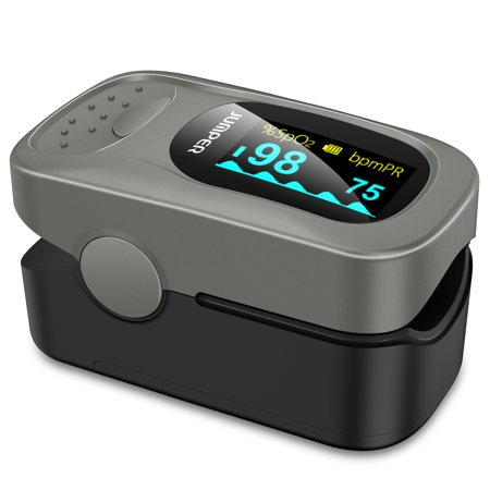 JUMPER 500A Fingertip Pulse Oximeter Oximetry Blood Oxygen Saturation Monitor Heart Rate Monitor Pulse Oximeter for Sports Home Health Care with Carrying Case Batteries and Lanyard, Silver ()