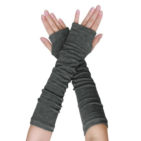 91e589fcd Women Elbow Length Thumbhole Warmer Fingerless Gloves Pair Dark Gray 1 Pair  - image 2 of ...