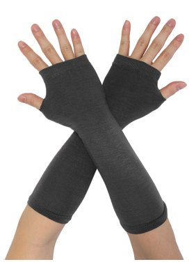 Unique Bargains Women's Ruffled Thumb Hole Wrist Arm Warmer Knitted Gloves Pair