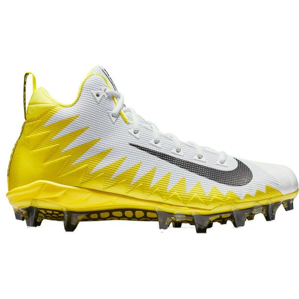 Nike Men's Alpha Menace Pro Mid Football Cleats White/Yellow 10
