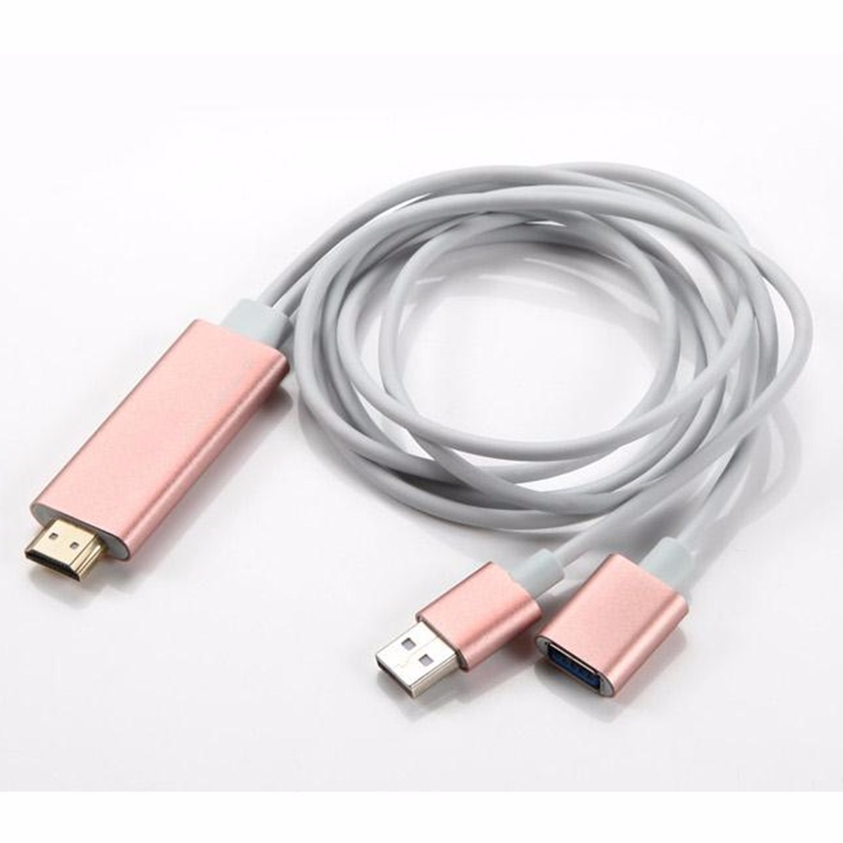 6.6ft/2M 3in1 1080P HD Wireless HDTV DLNA Air play Display Dongle Cable Adapter For IOS Smartphone Support H DMI Output Projector