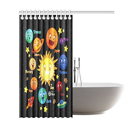 GCKG Funny Kids Education Shower Curtain, Planet Character Elements Polyester Fabric Shower Curtain Bathroom Sets with Hooks 66x72 Inches - image 2 of 3