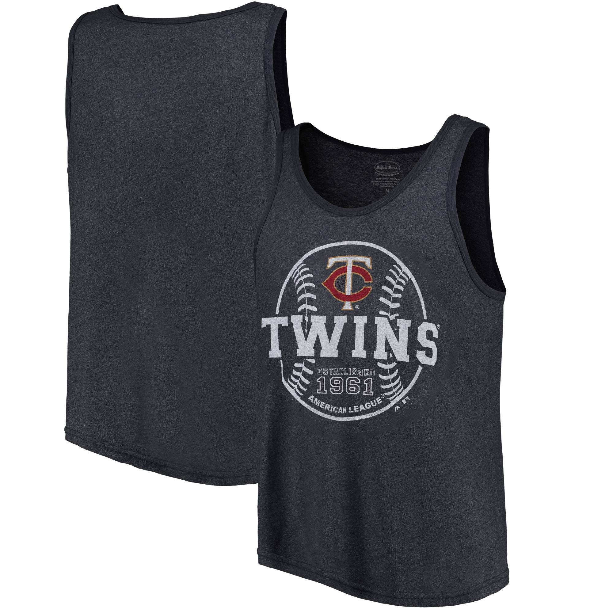 Minnesota Twins Majestic Threads The Stretch Contrast Tri-Blend Tank Top - Heathered Navy