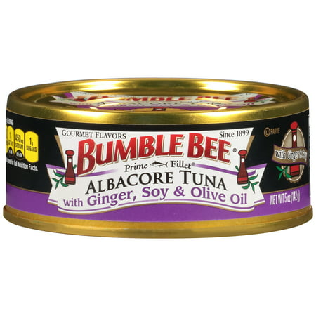 (5 Pack) Bumble Bee Prime Fillet Solid White Albacore Tuna in Olive Oil, Ginger and Soy, 5oz can