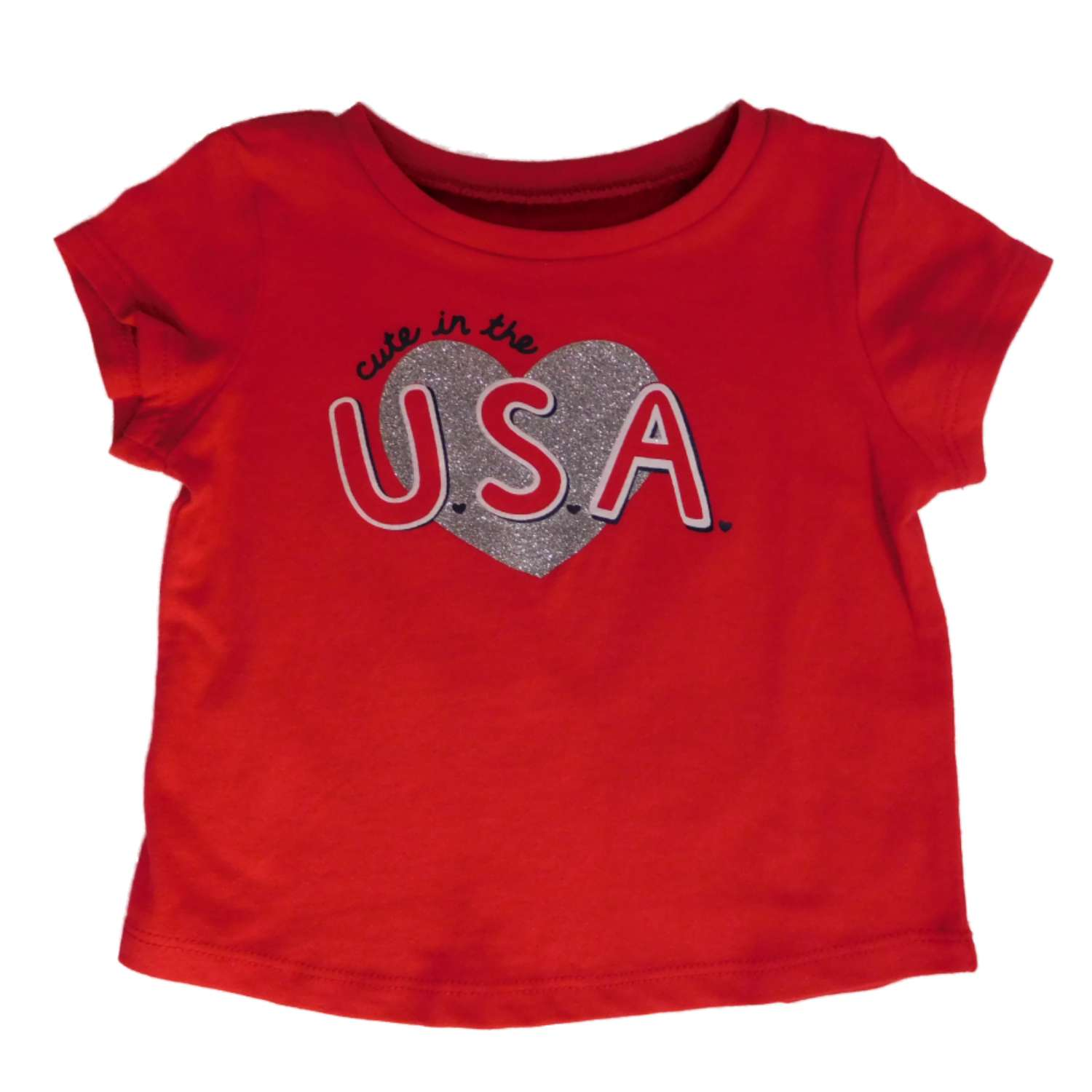 Jumping Beans Infant Girls Red Cute In USA Glitter Heart Patriotic Tee Shirt