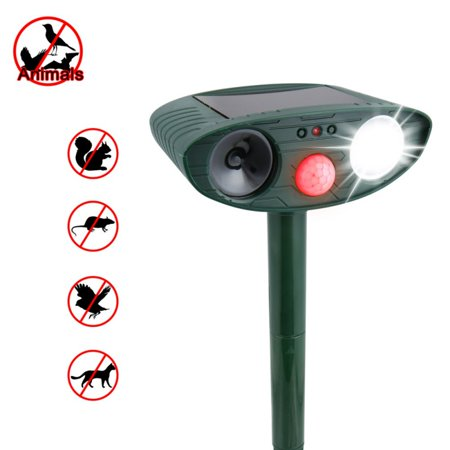 Outdoor Solar Dog and Cat Repellent Ultrasonic Waterproof Animal & Pest Repellent Deterrent Scarer with Powerful Flashing Light