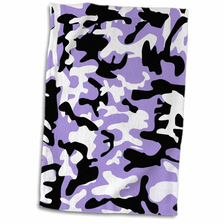 3dRose Purple and white camo print - girly army uniform camouflage pattern - girls military soldier blend - Towel, 15 by