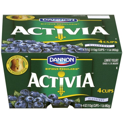 Activia Blueberry Lowfat Yogurt, 4 ct