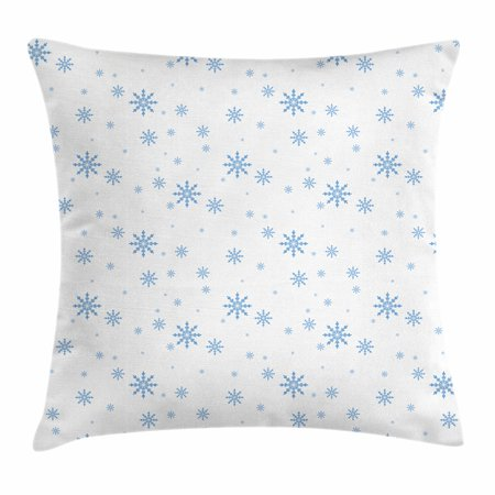 - Winter Throw Pillow Cushion Cover, Cold December Design Simple Seasonal Snowy Weather Ice Frost Gentle Winter Icons, Decorative Square Accent Pillow Case, 18 X 18 Inches, Blue White, by Ambesonne