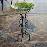 "evergreen tall black metal scroll bird bath stand - stand only - 12.5""l x 12.5""w x 34""h"