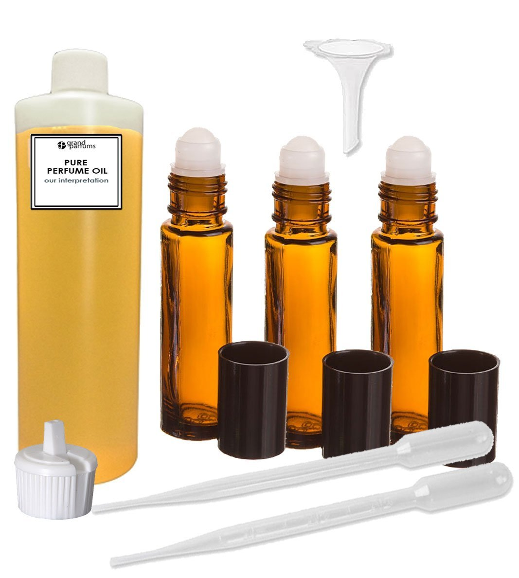 Perfume Oil Set - Love Chloe Body Oil For Women Scented Fragrance Oil - Our Interpretation, with Roll On Bottles and Tools to Fill Them (1 oz)