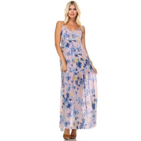 Marcelle Margaux Floral Printed Sleeveless Chiffon Maxi Dress