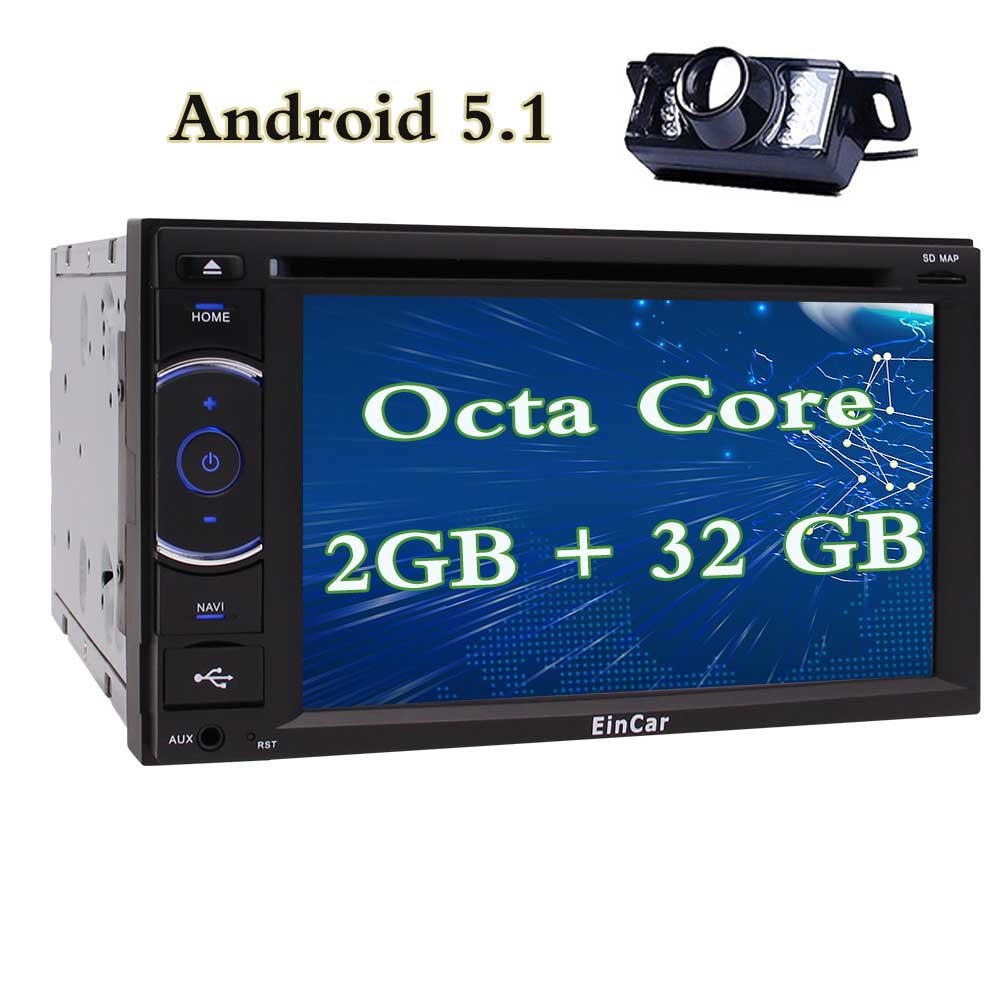 Eincar Android 5.1 Lollipop Octa Core car Stereo Double Din 2GB + 32GB with DVD Player, Navigation, WiFi, Android Auto, 6.2 Inch Touch Screen, Backup Camera, Mirror Link, AUX, USB SD, 1080P Video