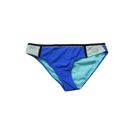 California Waves Tonal Blue Crochet-Trim Hipster Bikini Bottom S