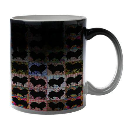 KuzmarK Black Heat Morph Color Changing Coffee Cup Mug 11 Ounce - Pomeranian Dog Black 7 Ounce Cup