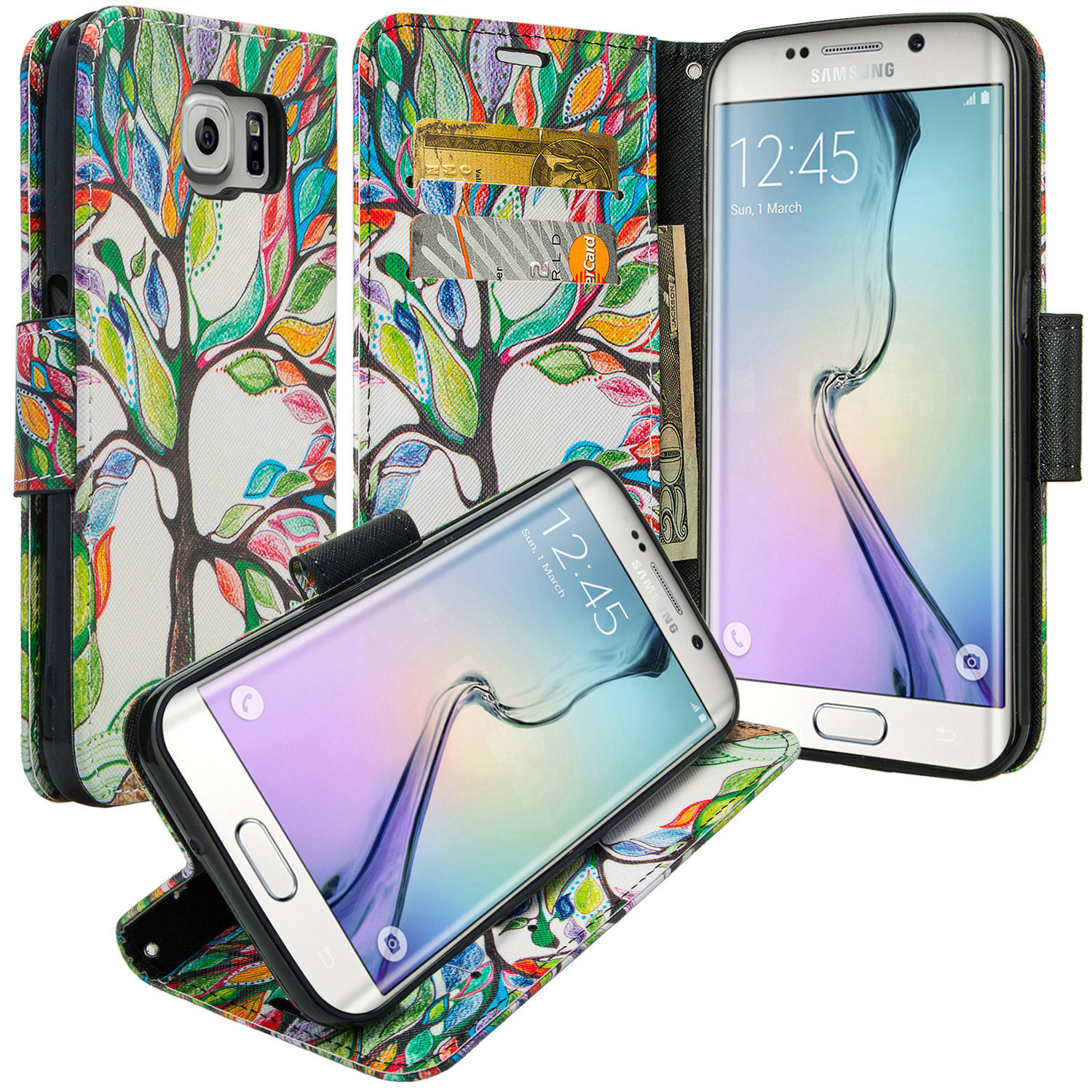 Samsung Galaxy S6 Edge Plus Wallet Case, Wrist Strap Magnetic Flip Fold[Kickstand] Pu Leather Wallet Case with ID & Card Slots for Galaxy S6 Edge Plus - Colorful Tree