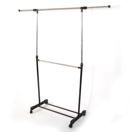 Horizontal-stretching Stand Clothes Rack Single-bar Black Horizontal Sheet Rack