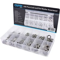 Capri Tools 10020 Flat and Lock Washers Assortment, Stainless Steel, 350-Piece