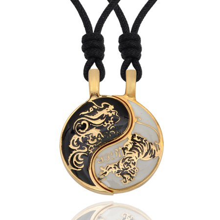 Yin Yang Leather - Dragon Tiger Yin Yang Seperated (2 Necklaces) Handmade Brass Necklace Pendant Jewelry With Cotton Cord