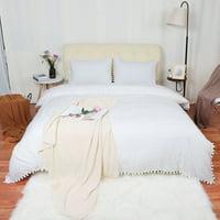 Pompom Tassels Duvet Cover Set, King White