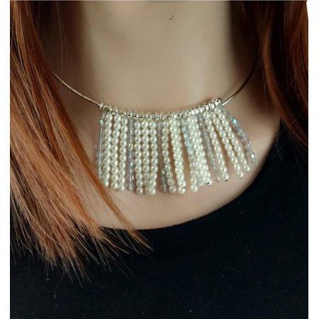 Nine West Faux Pearl & Crystal Beaded Fringe Choker Necklace Collar Plastic Bead Choker